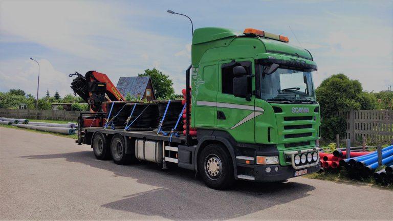 Transport HDS scania transport maszyn budowlanych